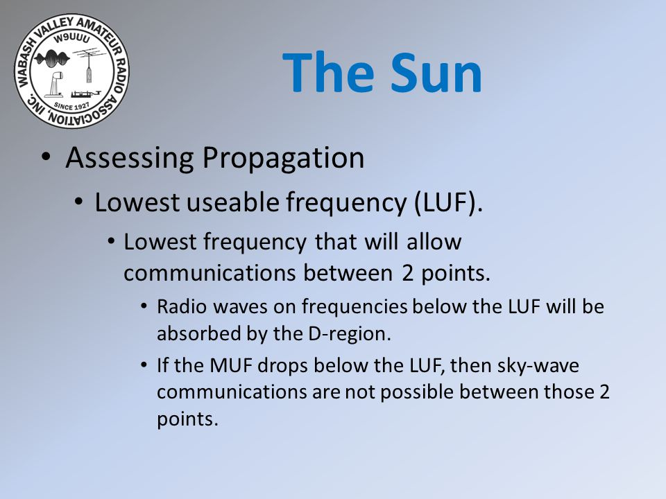Assessing Propagation Lowest useable frequency (LUF). Lowest frequency that will allow communications between 2 points. Radio waves on frequencies bel