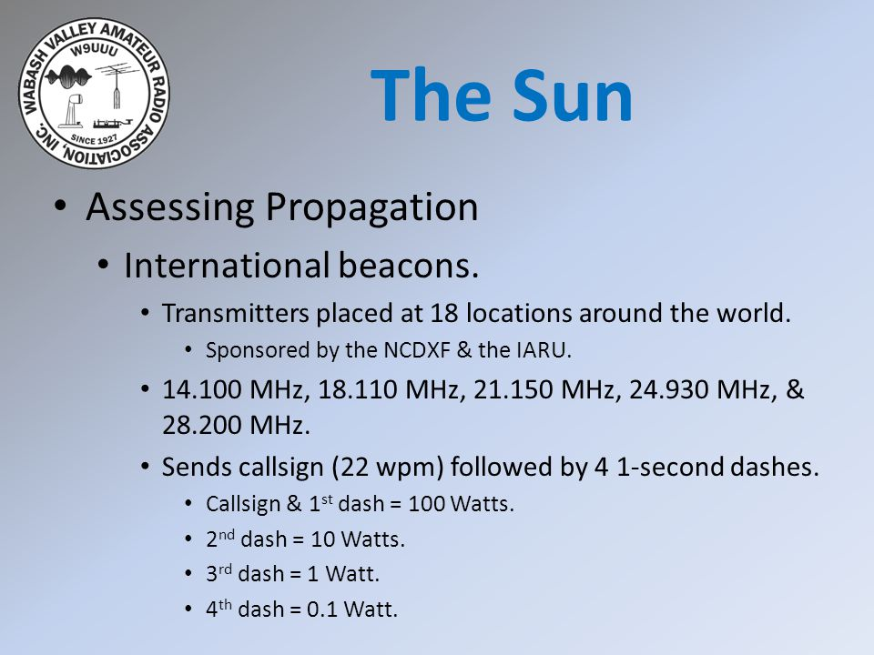 Assessing Propagation International beacons. Transmitters placed at 18 locations around the world. Sponsored by the NCDXF & the IARU. 14.100 MHz, 18.1
