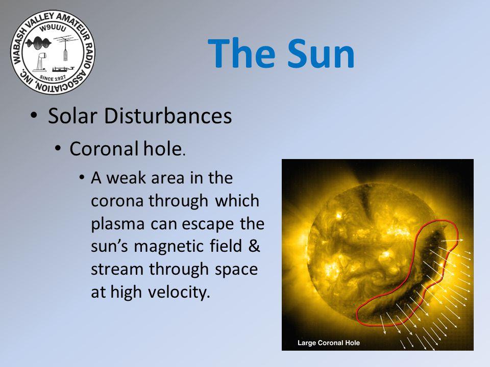Solar Disturbances Coronal hole. A weak area in the corona through which plasma can escape the sun's magnetic field & stream through space at high vel