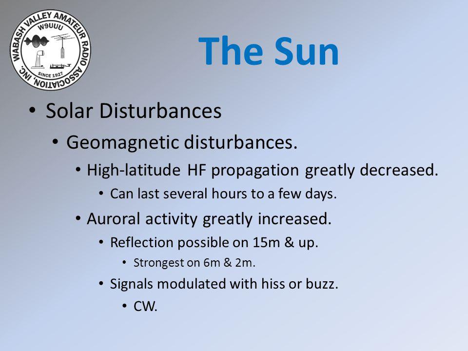 Solar Disturbances Geomagnetic disturbances. High-latitude HF propagation greatly decreased. Can last several hours to a few days. Auroral activity gr