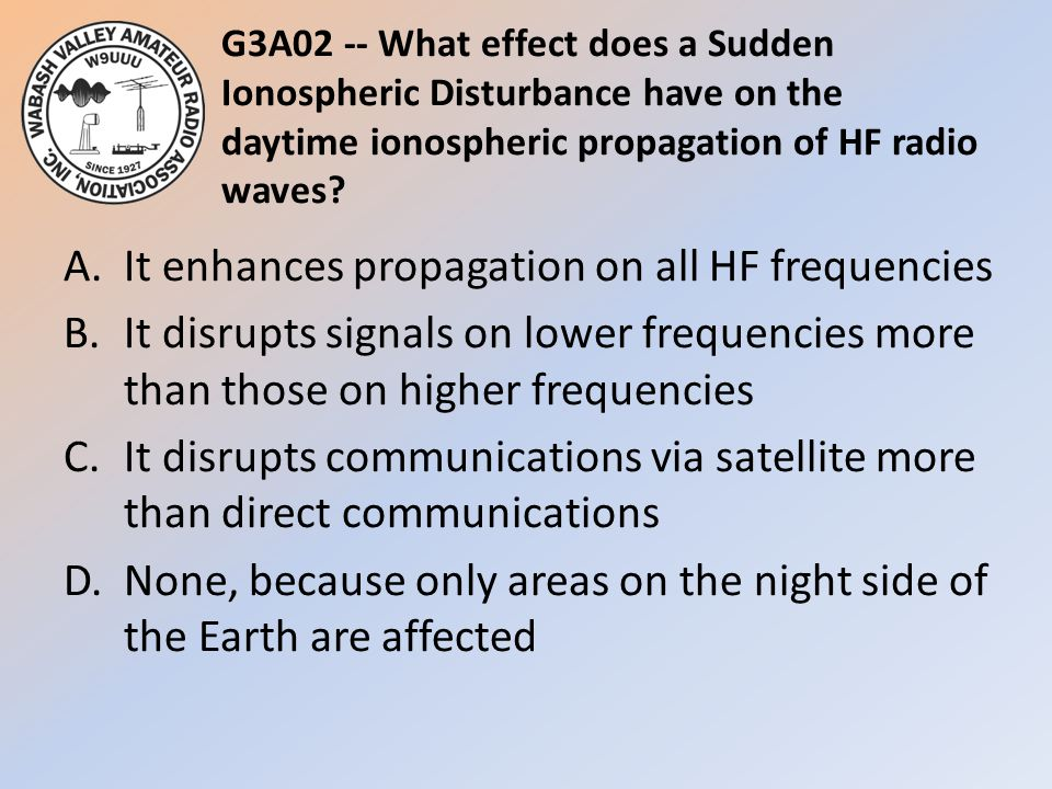 G3A02 -- What effect does a Sudden Ionospheric Disturbance have on the daytime ionospheric propagation of HF radio waves? A.It enhances propagation on