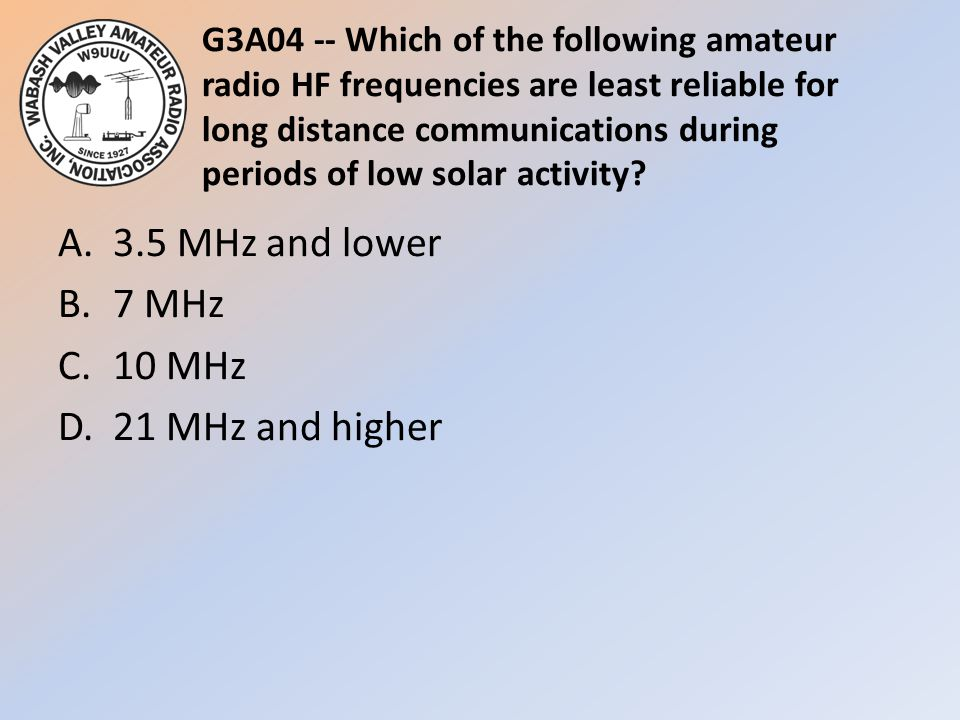 G3A04 -- Which of the following amateur radio HF frequencies are least reliable for long distance communications during periods of low solar activity?