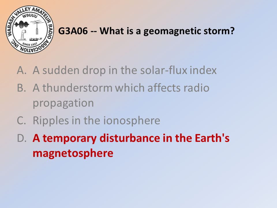 G3A06 -- What is a geomagnetic storm? A.A sudden drop in the solar-flux index B.A thunderstorm which affects radio propagation C.Ripples in the ionosp