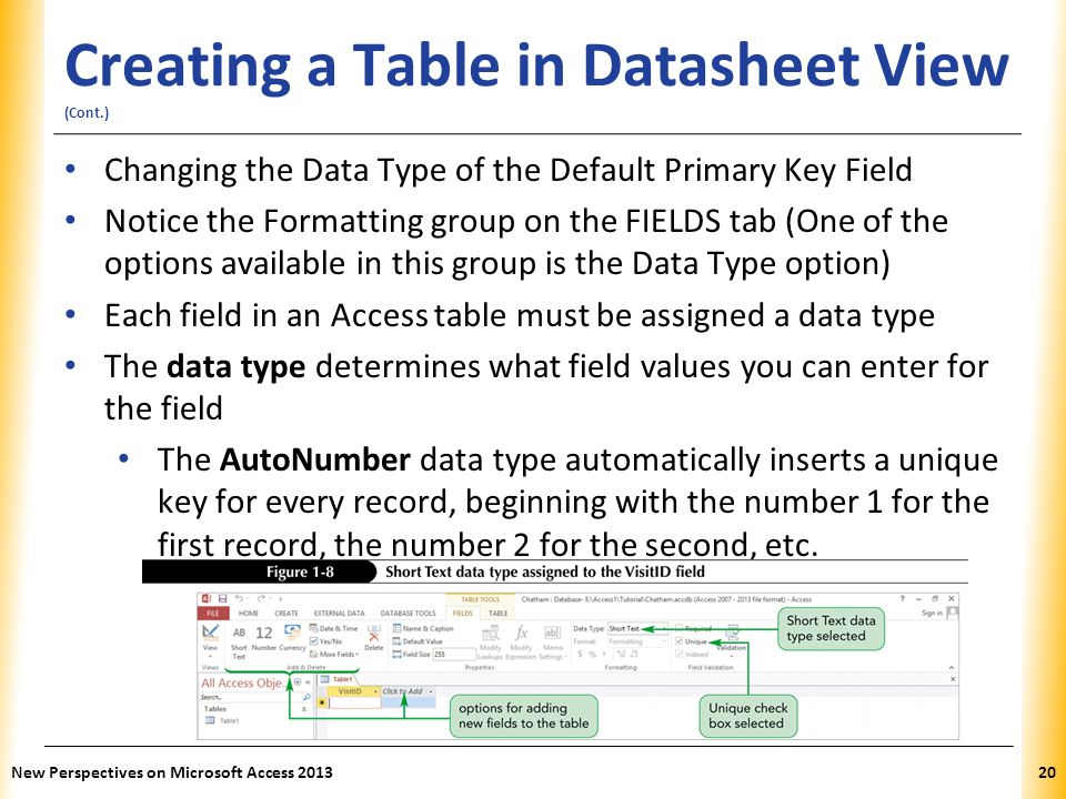XP Creating a Table in Datasheet View (Cont.) Changing the Data Type of the Default Primary Key Field Notice the Formatting group on the FIELDS tab (O