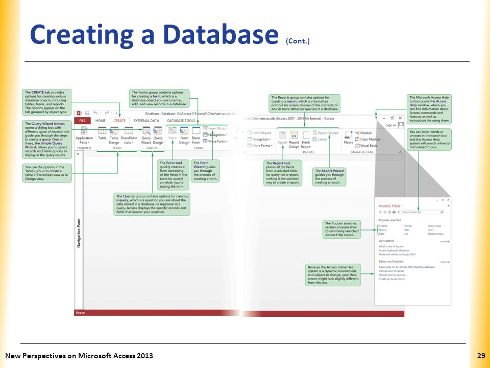 XP Creating a Database (Cont.) New Perspectives on Microsoft Access 201329