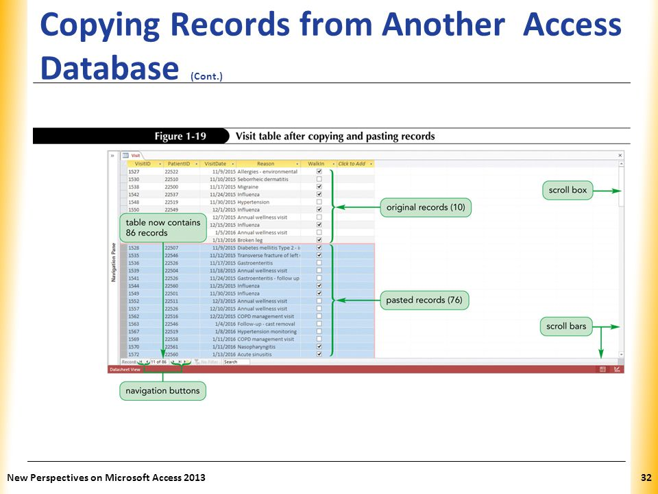 XP Copying Records from Another Access Database (Cont.) New Perspectives on Microsoft Access 201332
