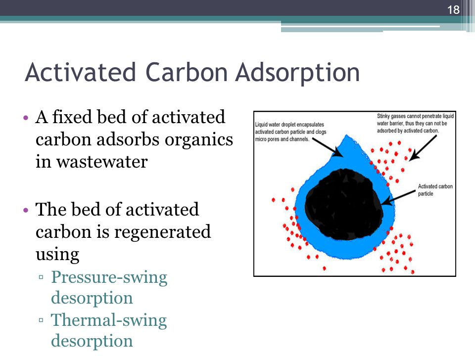 Activated Carbon Adsorption A fixed bed of activated carbon adsorbs organics in wastewater The bed of activated carbon is regenerated using ▫Pressure-