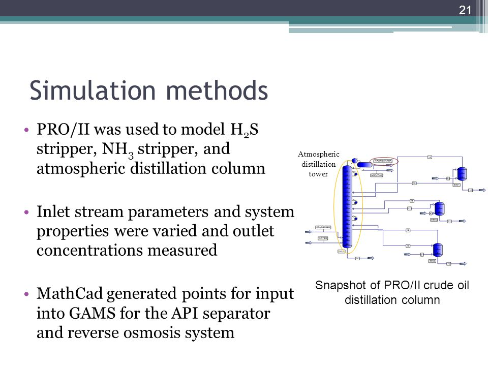Simulation methods PRO/II was used to model H 2 S stripper, NH 3 stripper, and atmospheric distillation column Inlet stream parameters and system prop