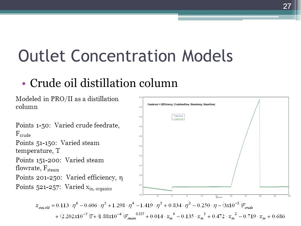 Outlet Concentration Models Crude oil distillation column 27 Modeled in PRO/II as a distillation column Points 1-50: Varied crude feedrate, F crude Po