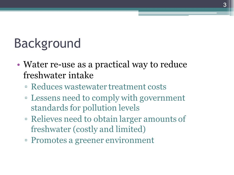 Goals Mathematical programming becoming main approach to solving water allocation problem ▫Optimize stream placement between water-using and wastewater treatment processes by performing mass and contaminant balances ▫Current methods rely on assumption of fixed outlet concentrations ▫However, outlet concentration has shown to be a function of pressure, temperature, C in, etc.