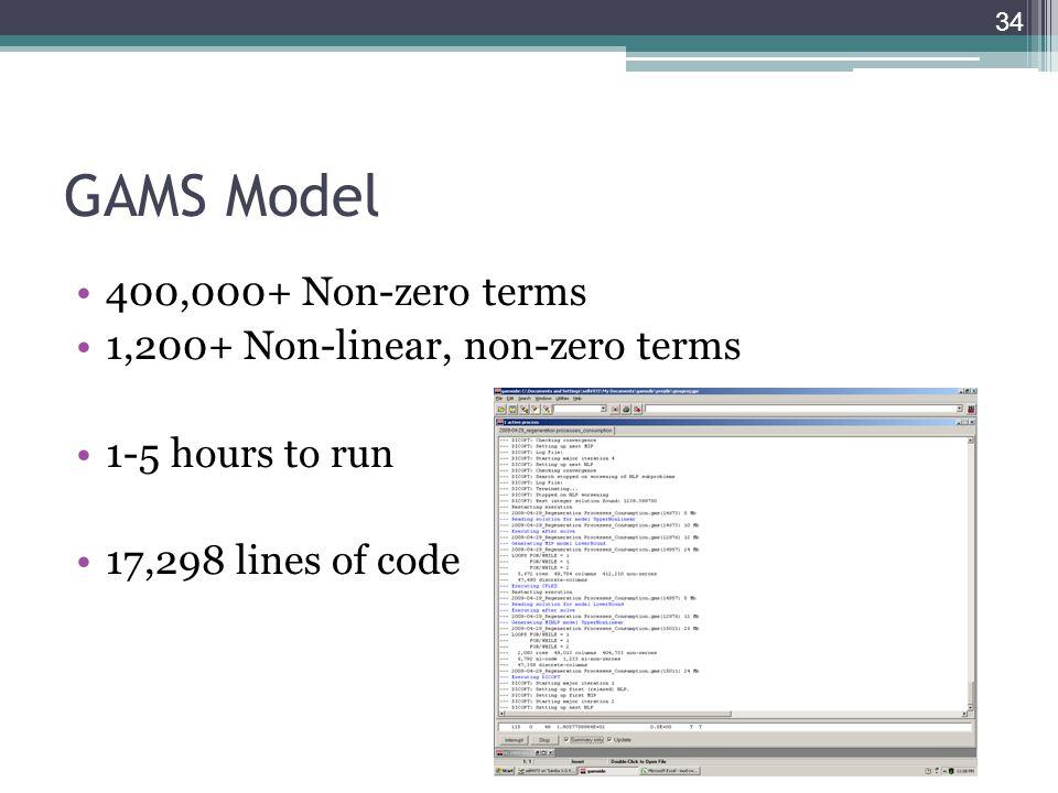 GAMS Model 400,000+ Non-zero terms 1,200+ Non-linear, non-zero terms 1-5 hours to run 17,298 lines of code 34
