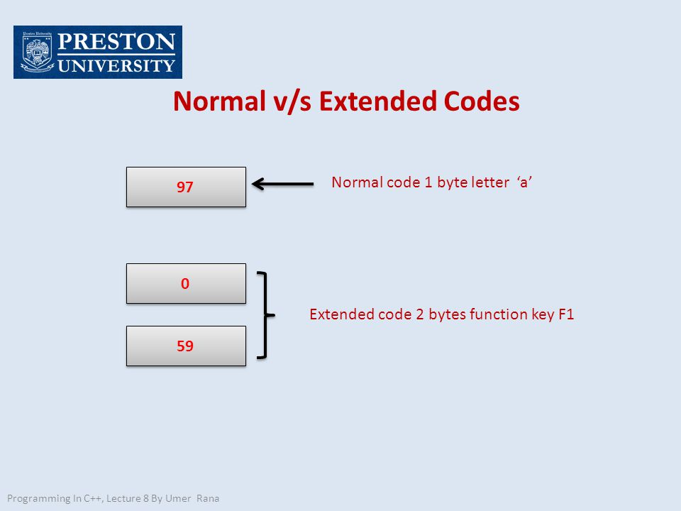 Programming In C++, Lecture 8 By Umer Rana Normal v/s Extended Codes { unsigned char key, key2; while ( ( key=getch( ) )!= \r ) if (key==0) { key2=getch(); printf( %3d %3d\n , key, key2); } else printf( %3d\n , key); getche(); }