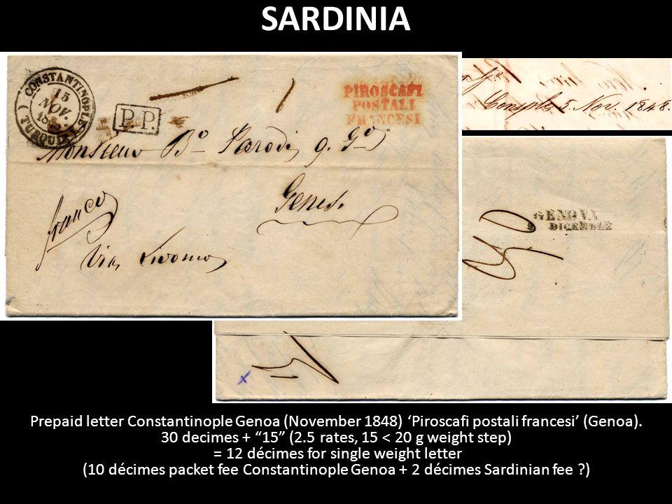 Prepaid letter Constantinople Genoa (November 1848) 'Piroscafi postali francesi' (Genoa).