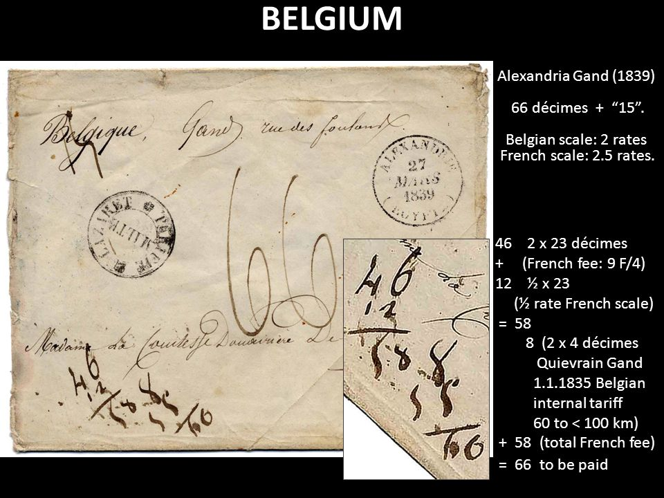 "BELGIUM Alexandria Gand (1839) 66 décimes + ""15"". Belgian scale: 2 rates French scale: 2.5 rates. 46 2 x 23 décimes + (French fee: 9 F/4) 12 ½ x 23 (½"