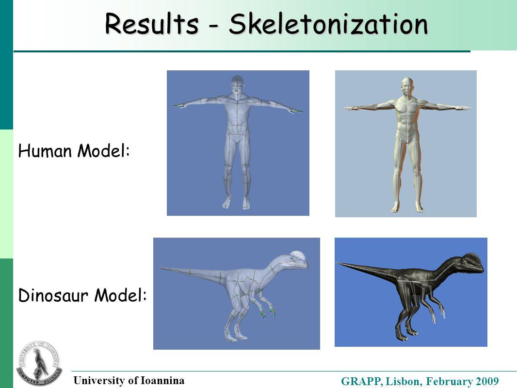 GRAPP, Lisbon, February 2009 University of Ioannina Results - Skeletonization Human Model: Dinosaur Model: