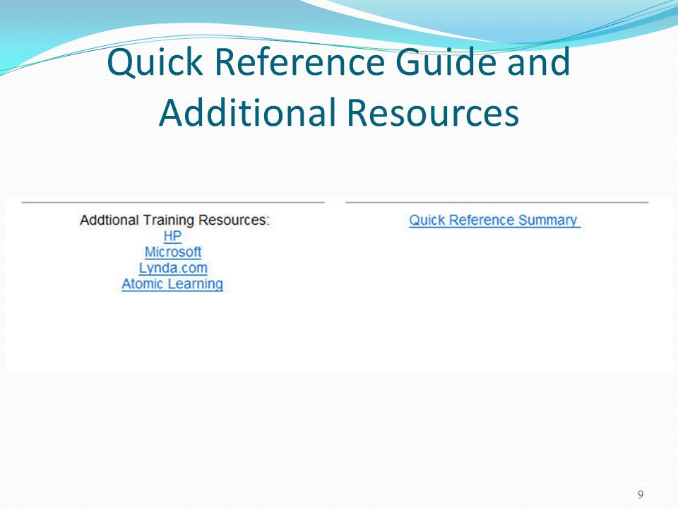 Quick Reference Guide and Additional Resources 9