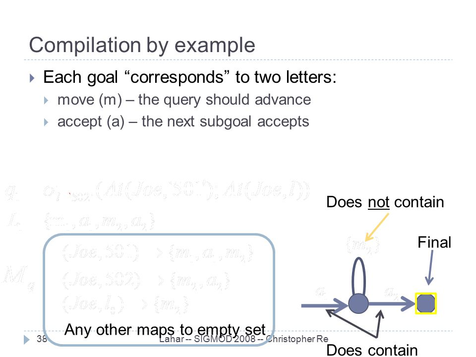 "Compilation by example Lahar -- SIGMOD 2008 -- Christopher Re38  Each goal ""corresponds"" to two letters:  move (m) – the query should advance  acce"