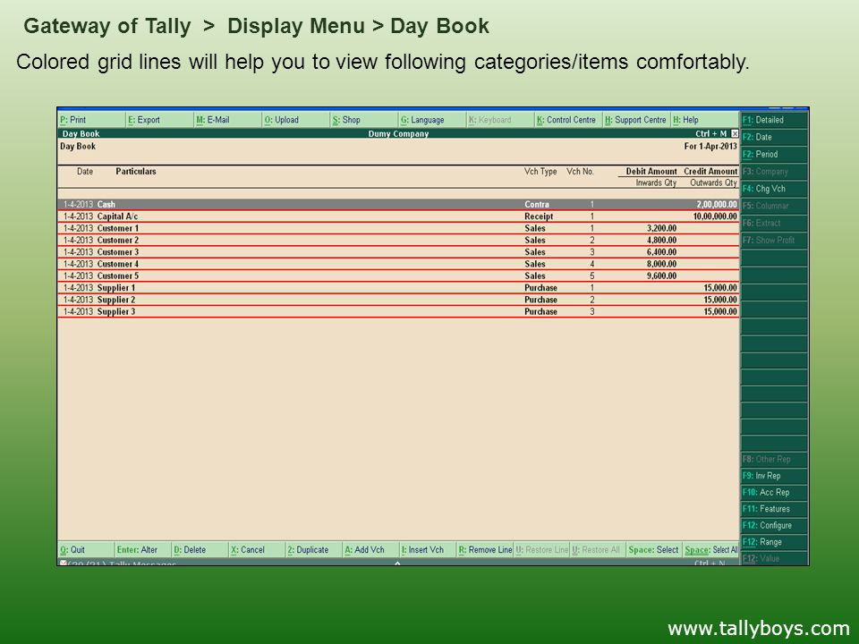 Colored grid lines will help you to view following categories/items comfortably. Gateway of Tally > Display Menu > Day Book www.tallyboys.com