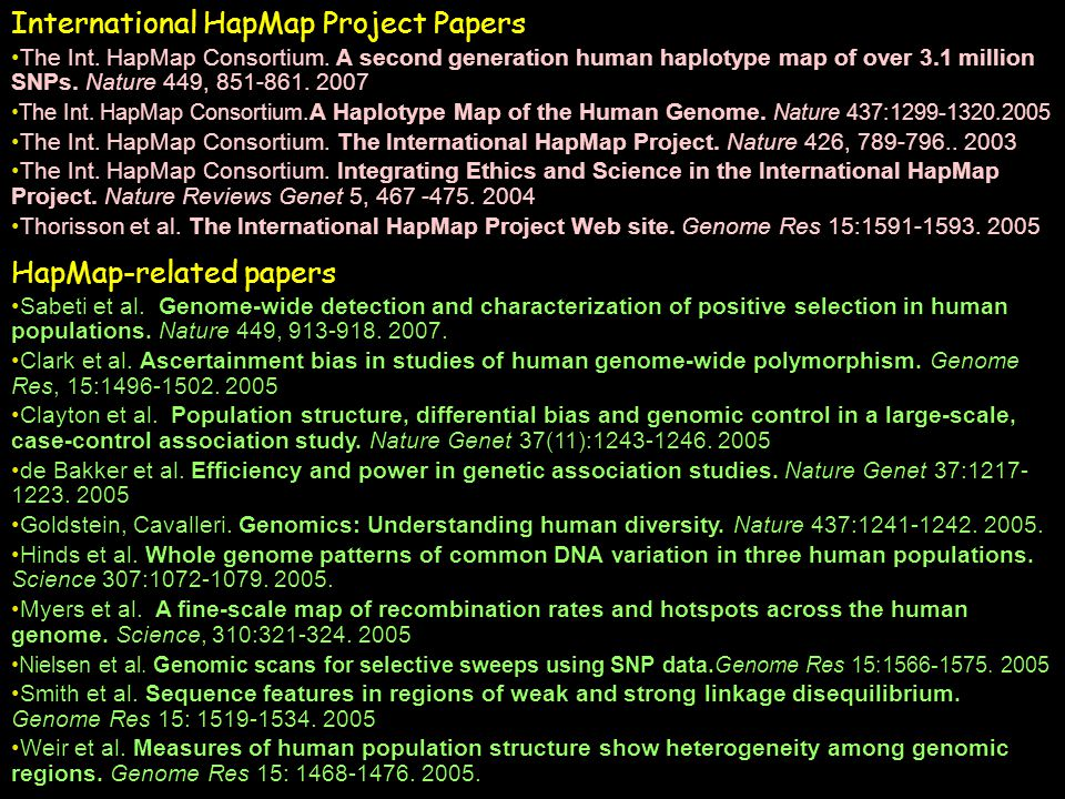 International HapMap Project Papers The Int.HapMap Consortium.