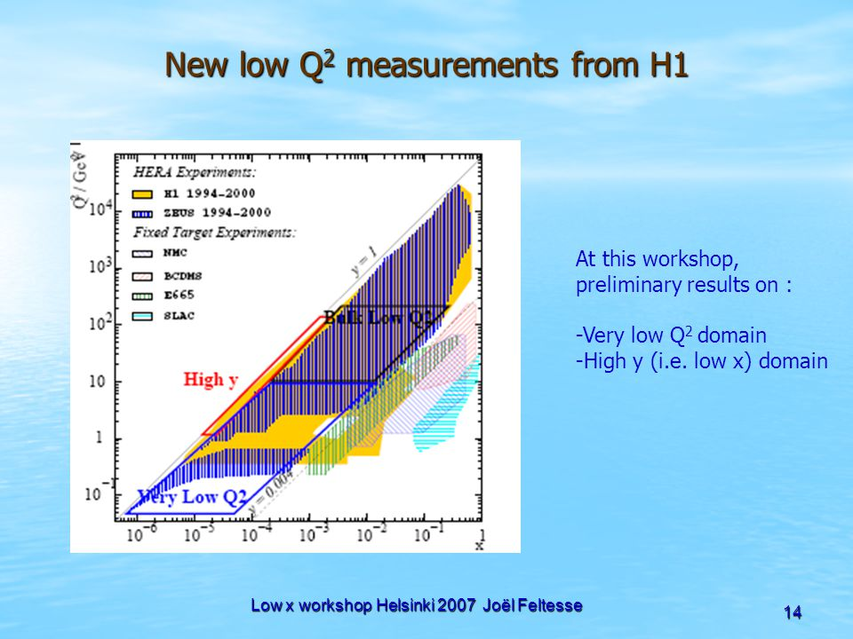 Low x workshop Helsinki 2007 Joël Feltesse 14 New low Q 2 measurements from H1 At this workshop, preliminary results on : -Very low Q 2 domain -High y