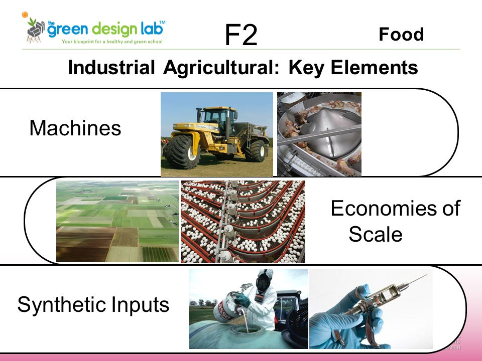 Food F2 Industrial Agricultural: Key Elements Machines Economies of Scale Synthetic Inputs
