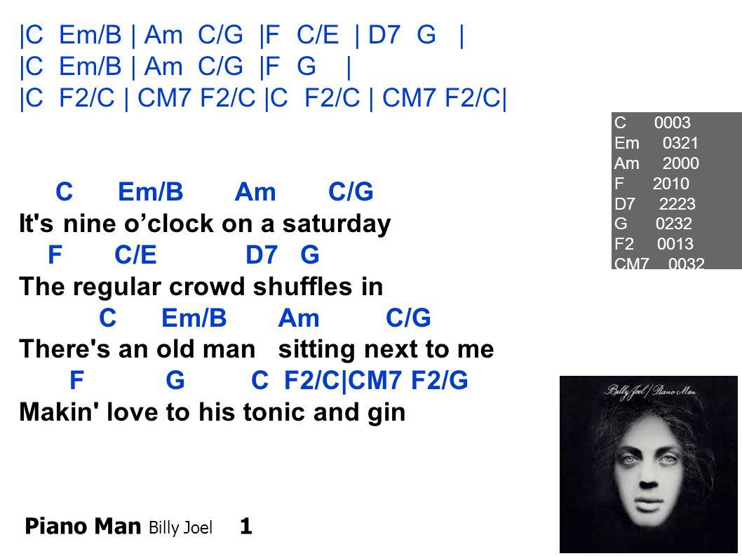 Piano Man 2 C Em/B Am C/G He says Son, can you play me a memory? F C/E D7 G I m not really sure how it goes C C/B But it s sad and its sweet and I Am C/G knew it complete, F G7 C C/B When I wore a younger mans clothes Oh C 0003 Em 0321 Am 2000 F 2010 D7 2223 G 0232 F2 0013 CM7 0032
