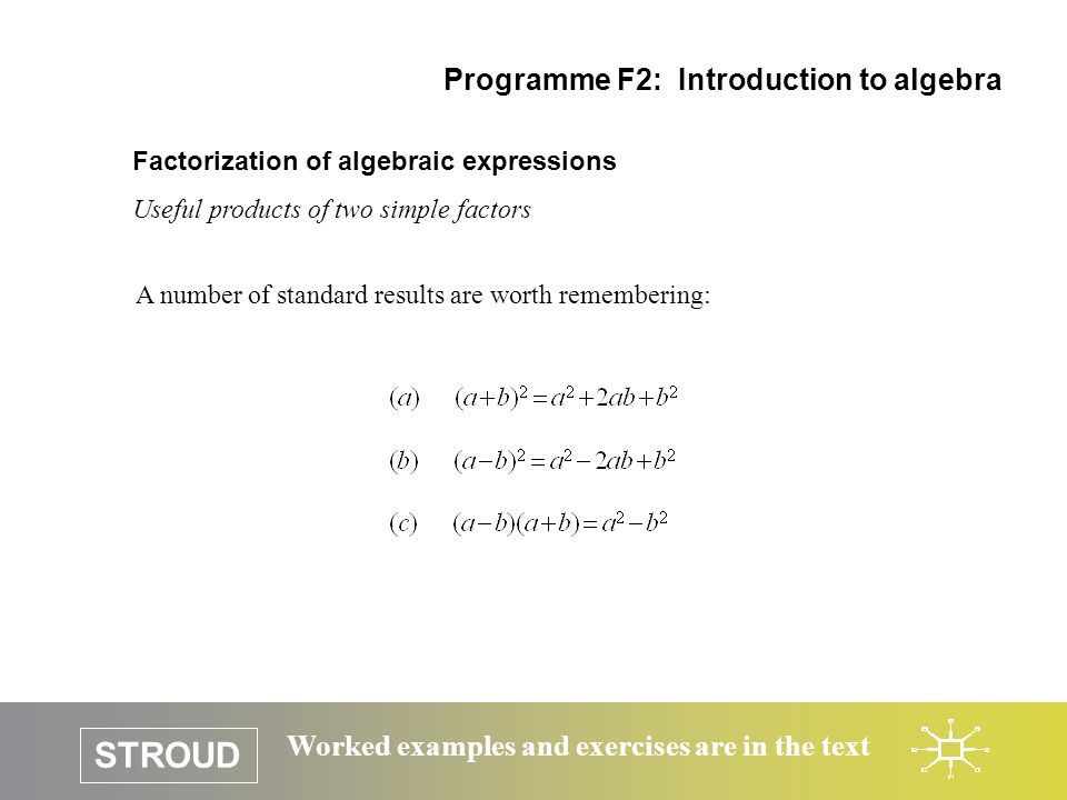 STROUD Worked examples and exercises are in the text Factorization of algebraic expressions Useful products of two simple factors Programme F2: Introd