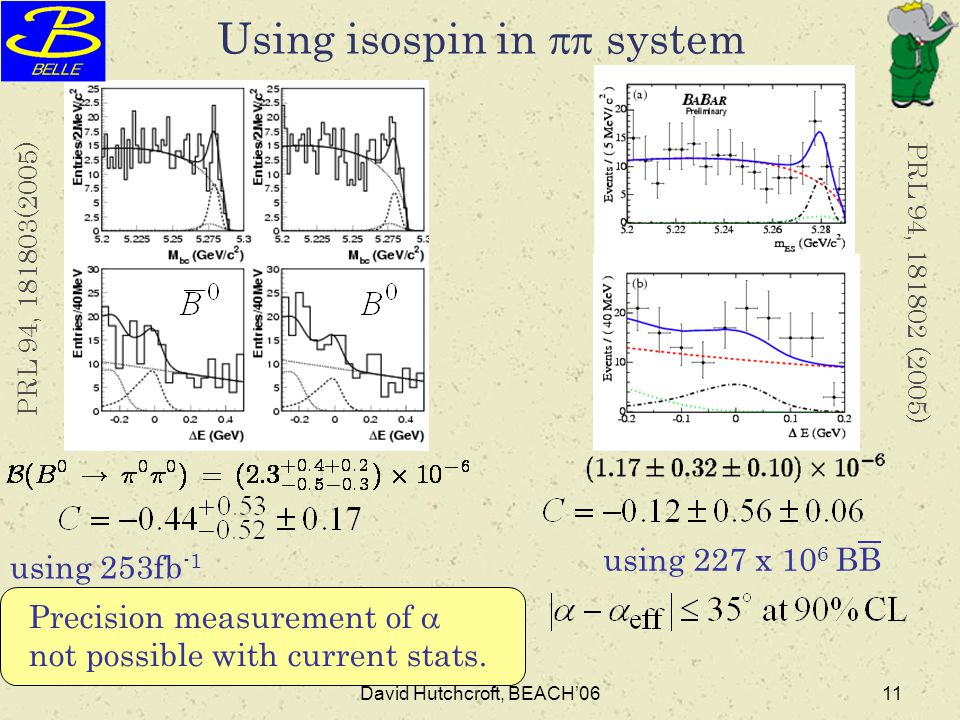 David Hutchcroft, BEACH'0611 Using isospin in  system using 253fb -1 using 227 x 10 6 BB PRL 94, 181803(2005) PRL 94, 181802 (2005) Precision measur