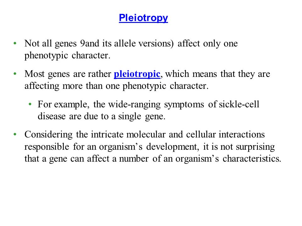 Not all genes 9and its allele versions) affect only one phenotypic character.