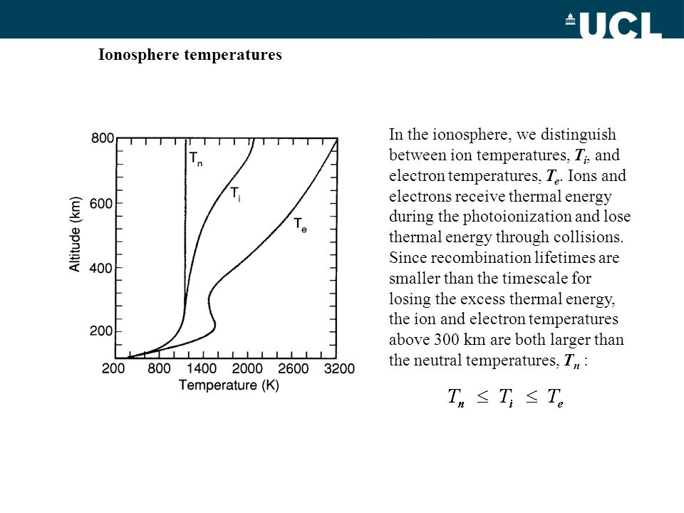 In the ionosphere, we distinguish between ion temperatures, T i, and electron temperatures, T e. Ions and electrons receive thermal energy during the