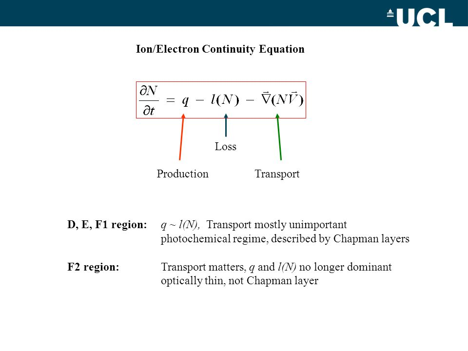 Ion/Electron Continuity Equation Production Loss Transport D, E, F1 region:q ~ l(N), Transport mostly unimportant photochemical regime, described by C