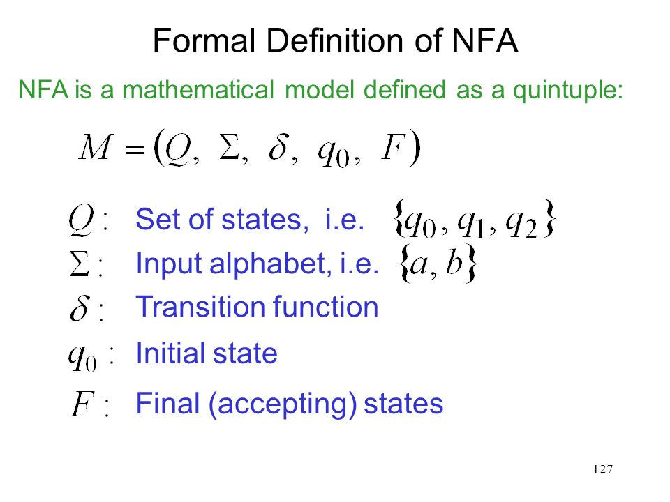 127 Formal Definition of NFA Set of states, i.e. Input alphabet, i.e. Transition function Initial state Final (accepting) states NFA is a mathematical