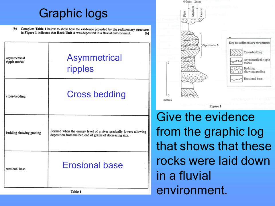 Graphic logs Give the evidence from the graphic log that shows that these rocks were laid down in a fluvial environment. Asymmetrical ripples Cross be