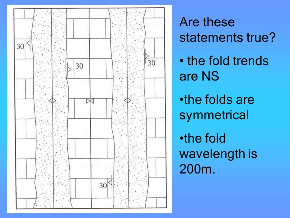 Evaluation of fold axes Are these statements true? the fold trends are NS the folds are symmetrical the fold wavelength is 200m.