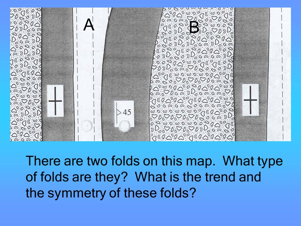 Folds There are two folds on this map. What type of folds are they? What is the trend and the symmetry of these folds? A B