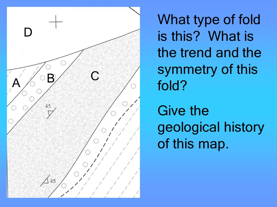 Folds What type of fold is this? What is the trend and the symmetry of this fold? Give the geological history of this map. A B C D