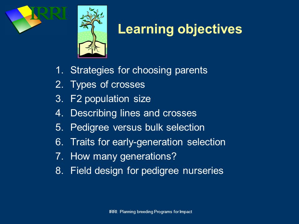 IRRI: Planning breeding Programs for Impact 1.Strategies for choosing parents 2.Types of crosses 3.F2 population size 4.Describing lines and crosses 5