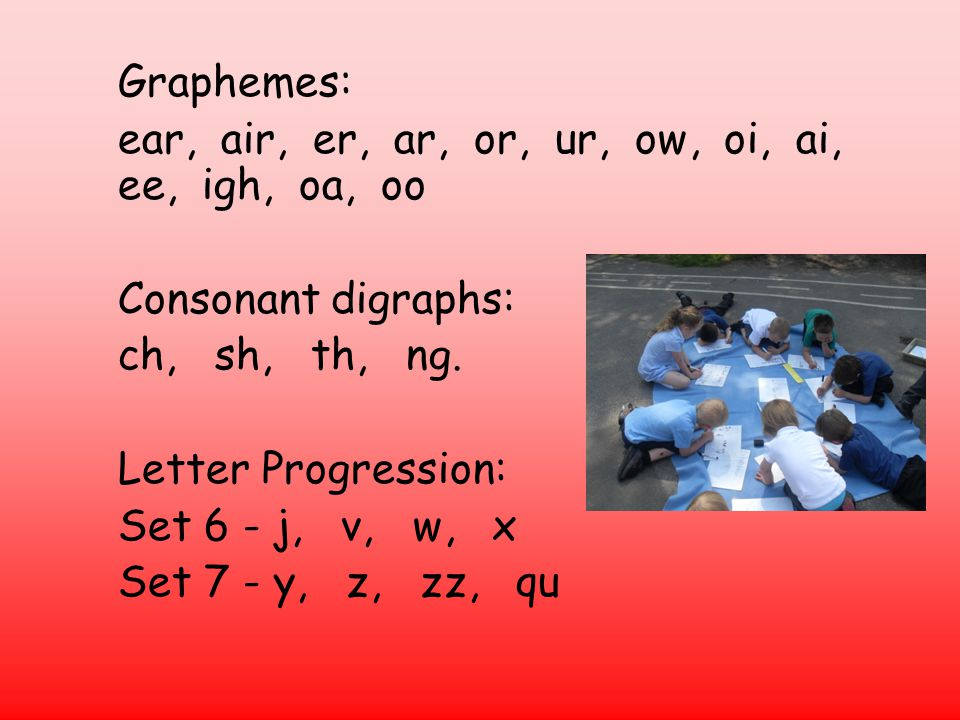 Graphemes: ear, air, er, ar, or, ur, ow, oi, ai, ee, igh, oa, oo Consonant digraphs: ch, sh, th, ng.