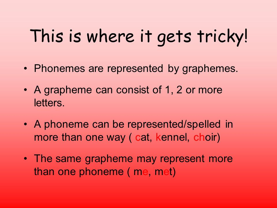 This is where it gets tricky.Phonemes are represented by graphemes.