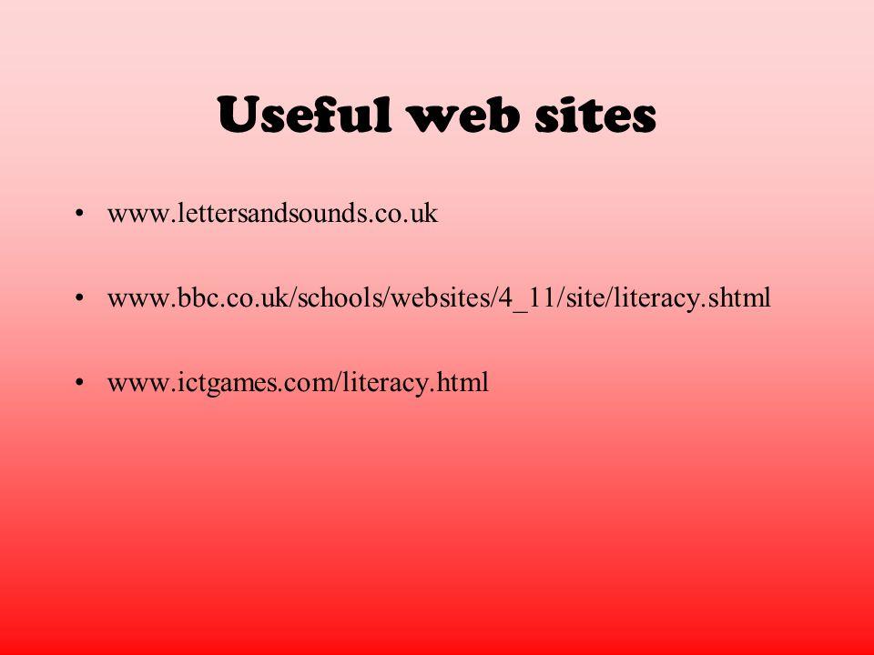 Useful web sites www.lettersandsounds.co.uk www.bbc.co.uk/schools/websites/4_11/site/literacy.shtml www.ictgames.com/literacy.html