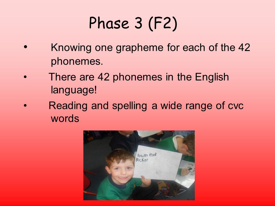 Phase 3 (F2) Knowing one grapheme for each of the 42 phonemes.