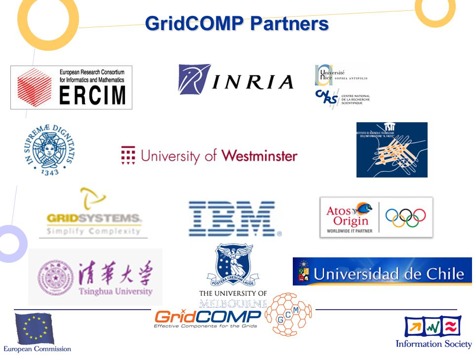 European Commission Directorate-General Information Society Unit F2 – Grid Technologies GCM: Grid Component Model GCM: Grid Component Model  GCM Being defined in the NoE CoreGRID (42 institutions)  Open Source ObjectWeb ProActive implements a preliminary version of GCM  Service Oriented: NESSI relation exp.