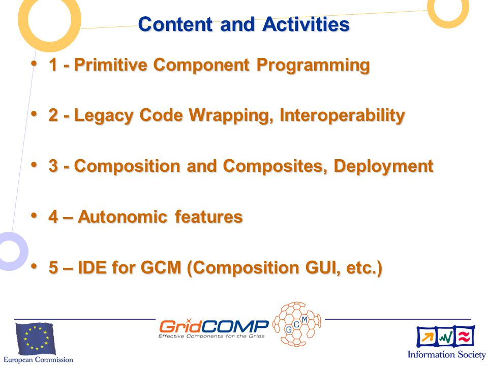 European Commission Directorate-General Information Society Unit F2 – Grid Technologies GCM Technical Structure 1. 1. Component Specification as an XM