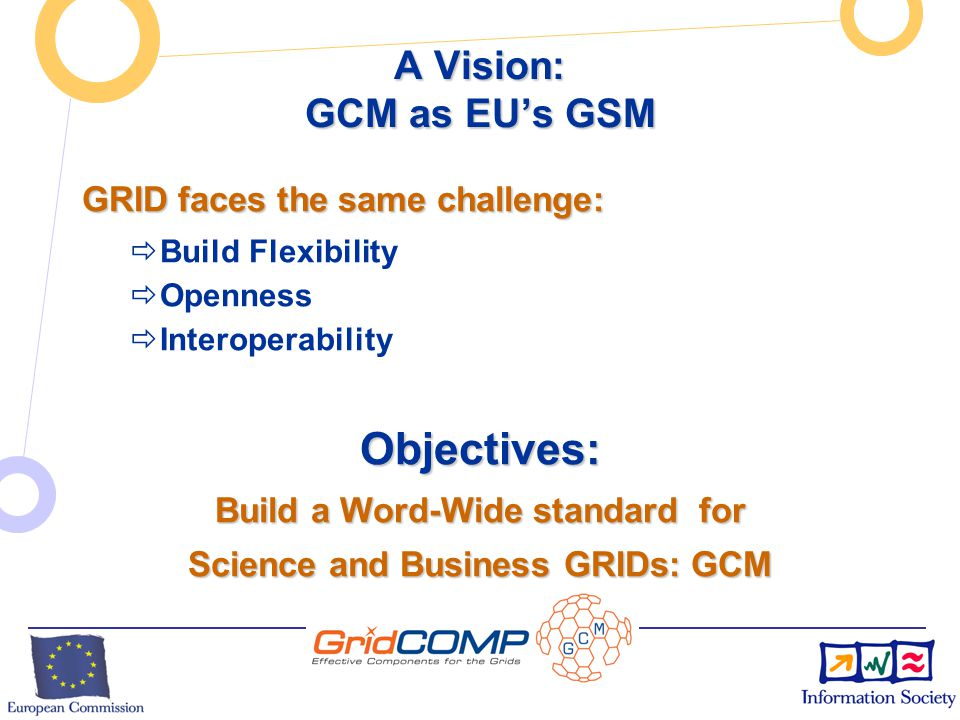 European Commission Directorate-General Information Society Unit F2 – Grid Technologies A Vision: GCM as EU's GSM Once upon a time: Once upon a time: