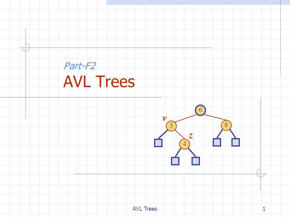 AVL Trees2 AVL Tree Definition (§ 9.2) AVL trees are balanced.