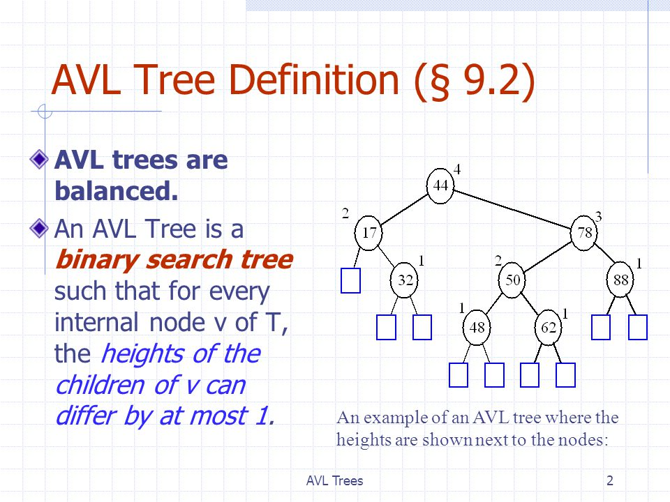 AVL Trees2 AVL Tree Definition (§ 9.2) AVL trees are balanced.