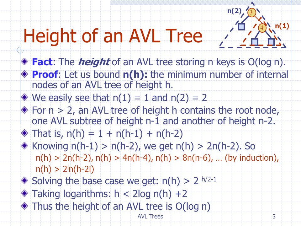 AVL Trees3 Height of an AVL Tree Fact: The height of an AVL tree storing n keys is O(log n).