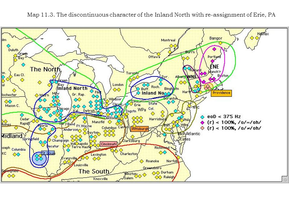 Map 11.3. The discontinuous character of the Inland North with re-assignment of Erie, PA