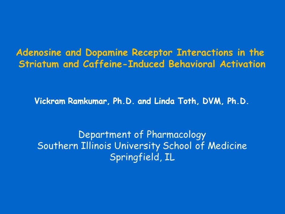 Adenosine and Dopamine Receptor Interactions in the Striatum and Caffeine-Induced Behavioral Activation Vickram Ramkumar, Ph.D. and Linda Toth, DVM, P