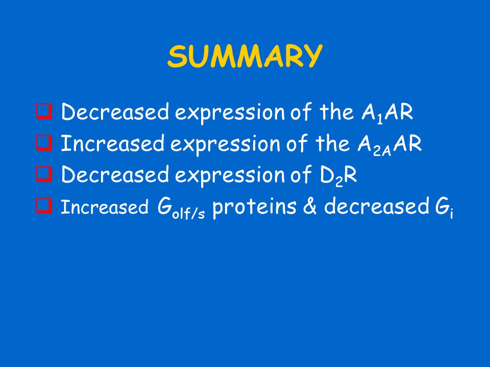 SUMMARY  Decreased expression of the A 1 AR  Increased expression of the A 2A AR  Decreased expression of D 2 R  Increased G olf/s proteins & decr